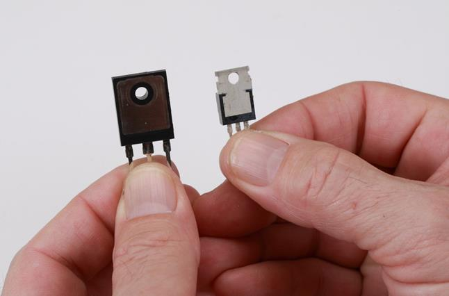 Custom TO-247 MOSFET (left) versus standard MOSFET
