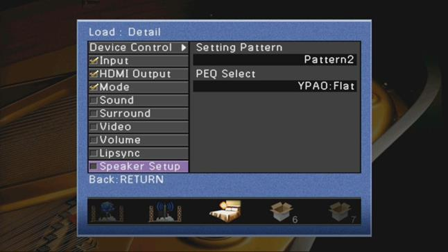 Scene mode settings on the Yamaha RX-A2020