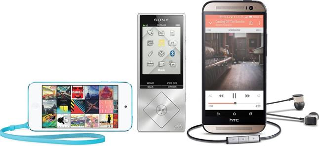 HTC smartphone, iPod Touch, Sony portable audio player