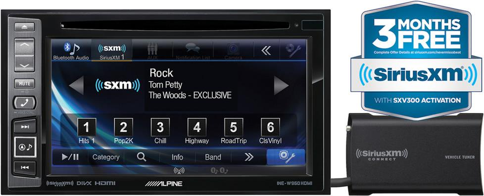 Alpine INE-W960HDMI navigation receiver with SiriusXM SXV300 satellite radio tuner