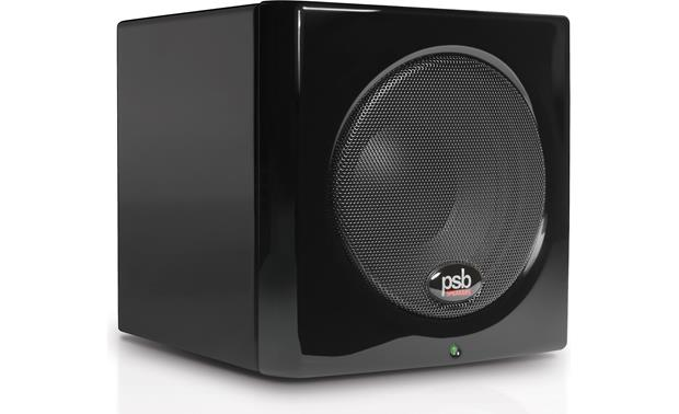PSB Alpha PS1/SubSeries 100 3/4 view of SubSeries 100 subwoofer