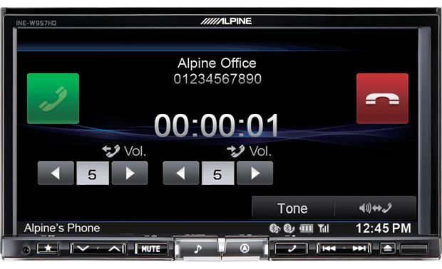 Alpine INE-W957HD Large buttons for volume and dialing make it easy to place and recieve calls