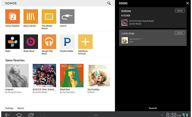 Sonos Playbar The free Sonos app for tablets (Android version shown)