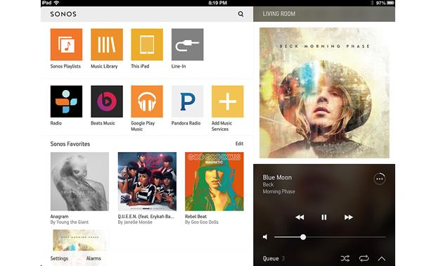 Sonos Play:3 The free Sonos app for tablets (iPad version shown)