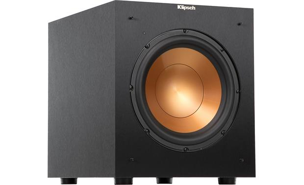 Klipsch Reference R-10SW Angled front view with grille removed
