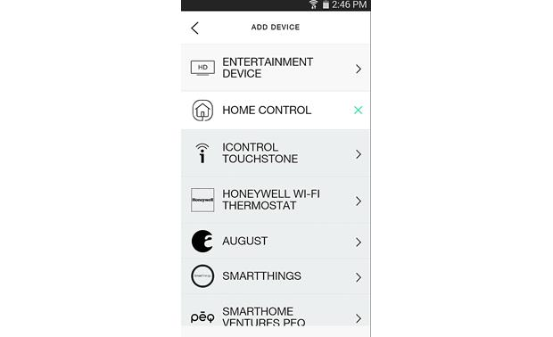 Logitech® Harmony® Companion Smartphone screenshot - device menu