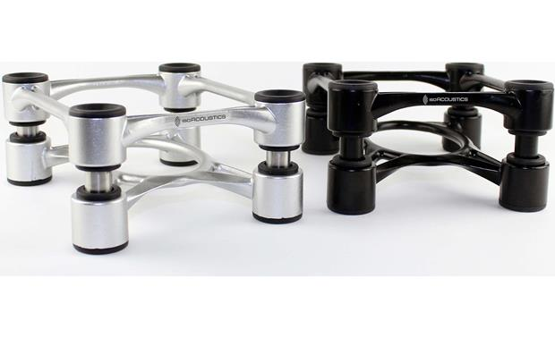 IsoAcoustics Aperta Speaker Stands Shown in Aluminum and Black finishes