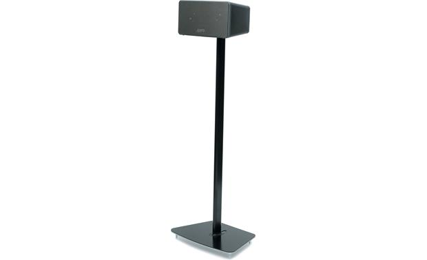 Flexson Floor Stand Black - left front view (Sonos PLAY:3 not included)