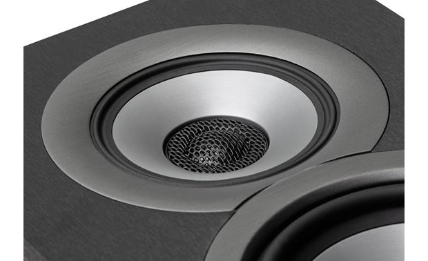 ELAC Uni-Fi UB5 Close-up view of concentrically mounted soft dome tweeter and  aluminum cone midrange