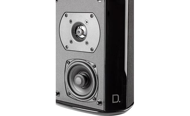 Definitive Technology SR-9040 Detailed view of BDSS mid/bass driver and annealed aluminum tweeter