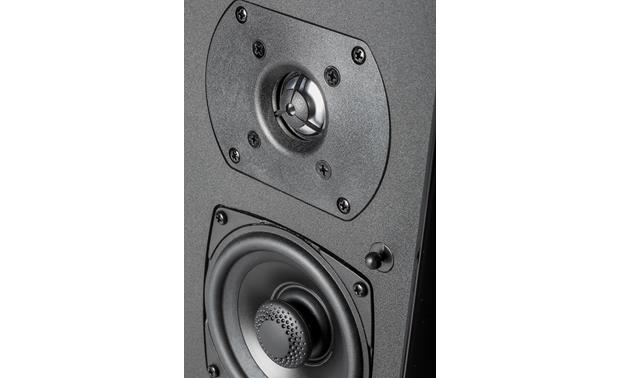Definitive SR-9080 Detailed view of BDSS mid/bass driver and annealed aluminum tweeter