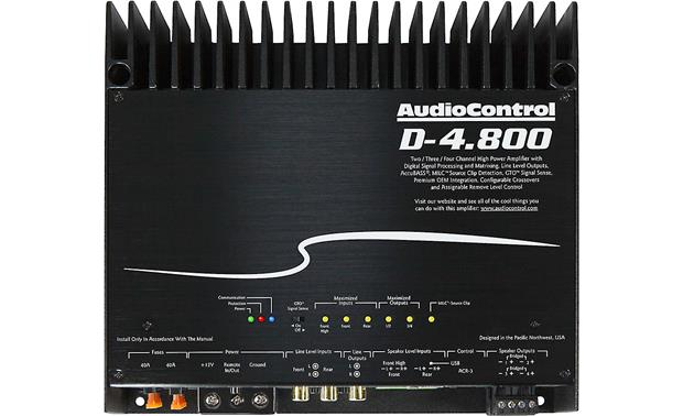 AudioControl D-4.800 Cover removed showing connections and indicators