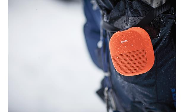 Bose® SoundLink® Micro <em>Bluetooth®</em> speaker Orange with Purple strap - waterproof casing