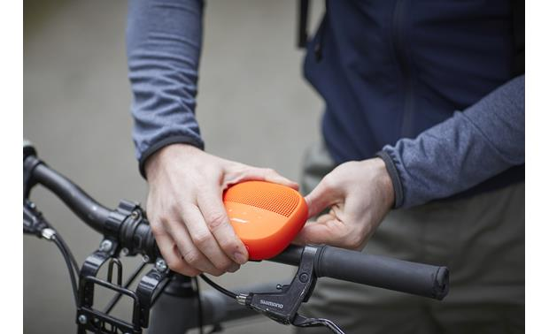 Bose® SoundLink® Micro <em>Bluetooth®</em> speaker Orange with Purple strap - secures easily to handlebar