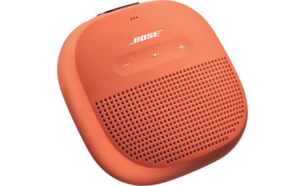 Bose® SoundLink® Micro <em>Bluetooth®</em> speaker Orange with Purple strap - left front