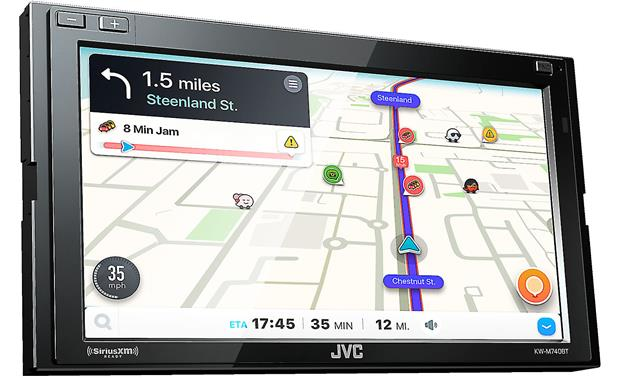 JVC KW-M740BT Use Apple CarPlay or Android Auto to access Waze while your smartphone is connected