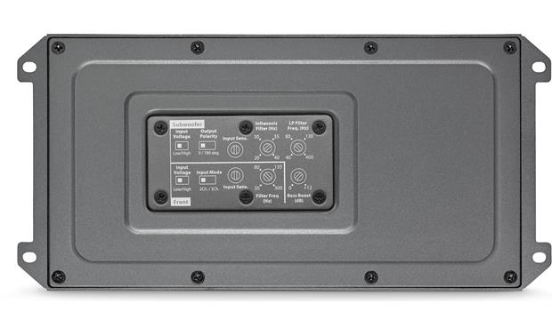 JL Audio MX600/3 The controls are on the bottom, protected by a weatherproof cover.