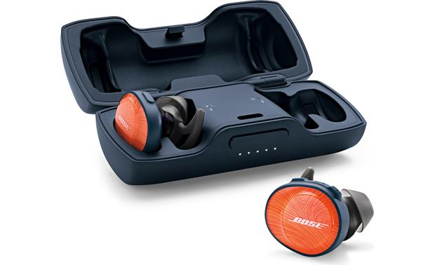 Bose® SoundSport® Free wireless headphones Included charging case banks 10 hours of power to recharge headphones