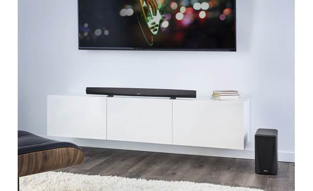 Denon HEOS HomeCinema HS2 Subwoofer connects to sound bar wirelessly