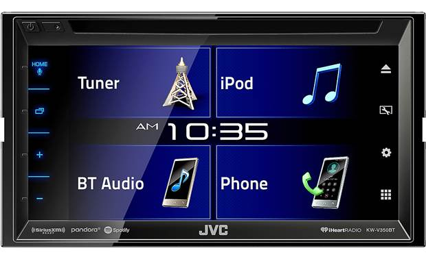 JVC KW-V350BT The resilient touchscreen display gives you quick access to music and lets you customize the look
