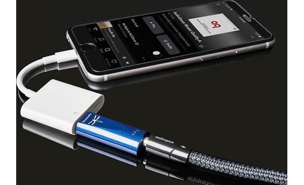 AudioQuest DragonFly® Cobalt Connects to an iPhone via Lightning-to-USB adapter (sold separately)