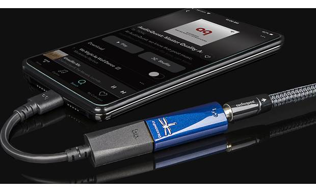 AudioQuest DragonFly® Cobalt USB-C adapter included for connecting to compatible Android phone (not included)