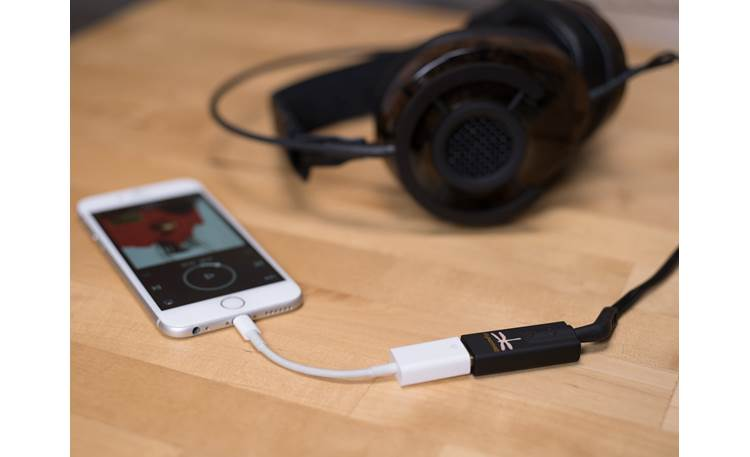 AudioQuest DragonFly® Black v1.5 Shown with optional smartphone adapter, phone, and headphones