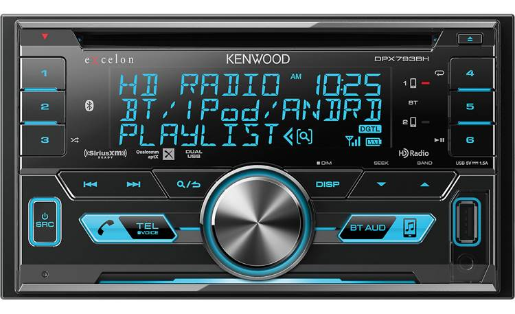 Kenwood Excelon DPX793BH This radio's big display can show off your Bluetooth, HD Radio, and SiriusXM info