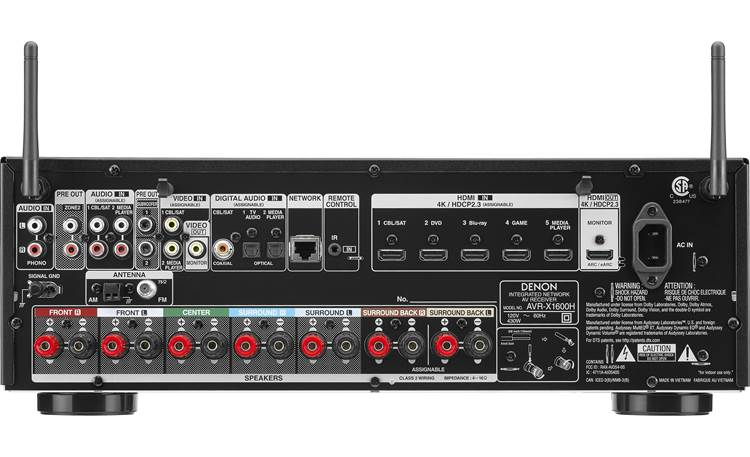 Denon AVR-X1600H (2019 model) Back