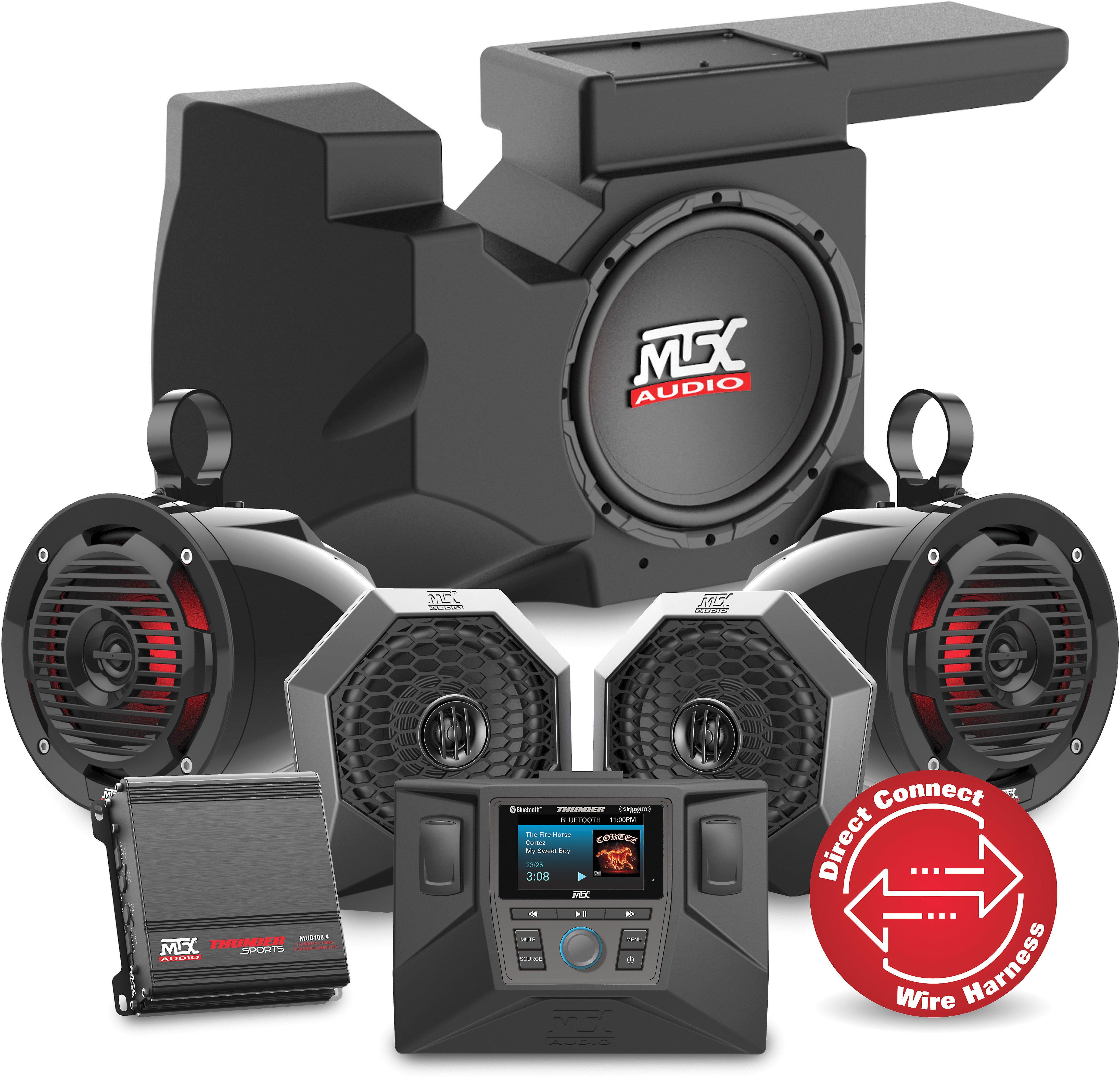 mtx rzrsystem3 audio upgrade kit for select 2014-17 polaris rzr models:  includes digital media receiver, two speaker pods, two bar speakers, amp,